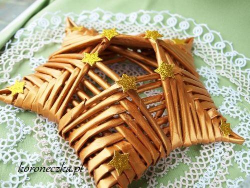 Złota gwiazdka z papierowej wikliny - przepis