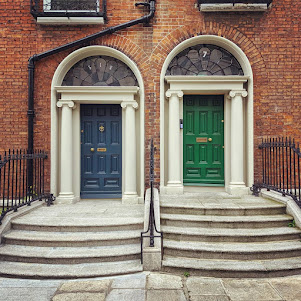 Green and blue Dublin doors