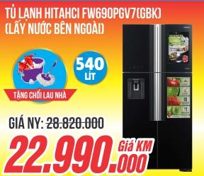 Tủ lạnh Hitachi inverter 540 lít R-FW690PGV7 (GBK - Đen),Thái Lan,mặt gương đen sang trọng, lấy nước ngoài tiện nghi, tiết kiệm 35% điện