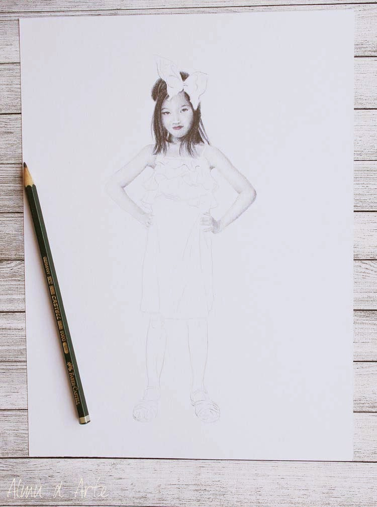 Retrato de niña a lápiz