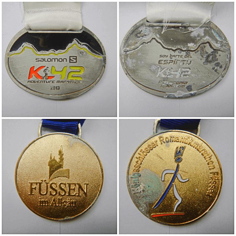 Limpeza de medalhas de corridas manchadas