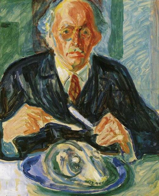 Эдвард Мунк - Автопортрет с головой трески. 1940