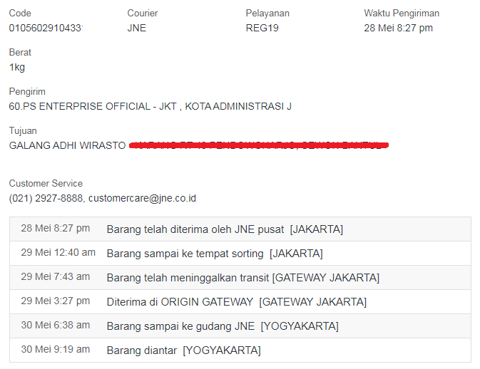 tracking detail jne