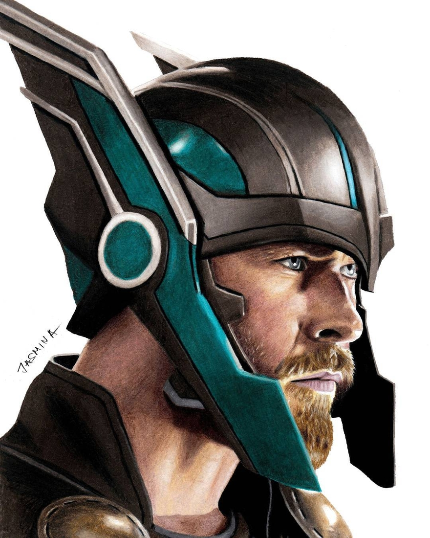 08-Chris-Hemsworth-Thor-Ragnarok-Jasmina-Susak-Superheroes-and-Villains-in-2d-and-3d-Drawings-www-designstack-co