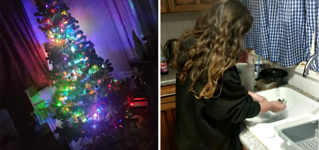 Our new Christmas tree and my youngest washing the dishes