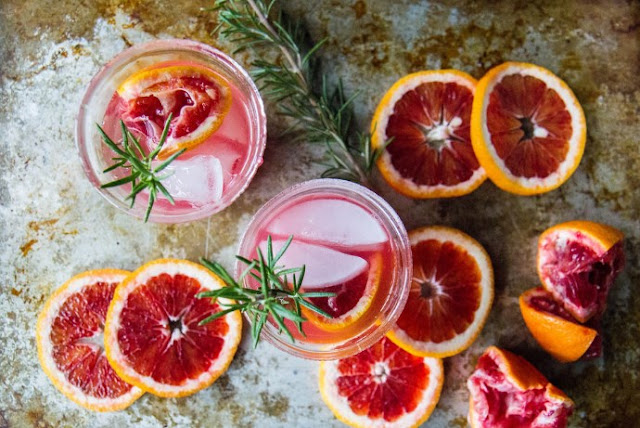 Rosemary Champagne Cocktail with Blood Orange #drink #cocktails