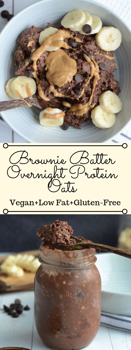 BROWNIE BATTER OVERNIGHT PROTEIN OATS #vegetarian #vegan #mushroom #protein #food