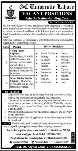 vc@gcu.edu.pk - Government College GC University Lahore Jobs 2021 in Pakistan