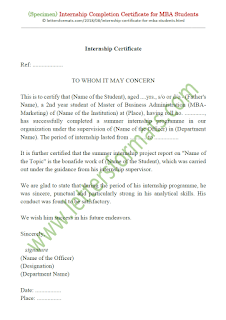 internship completion certificate for mba