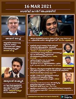 Daily Malayalam Current Affairs 16 Mar 2021