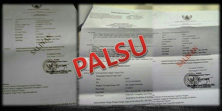 Contoh SK Palsu. (Sumber: Dokumentasi Humas BKN)