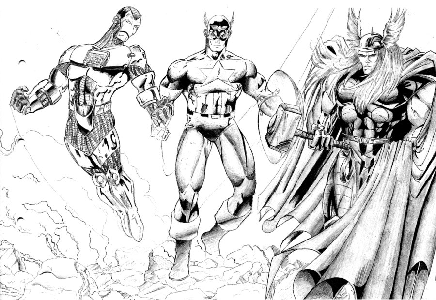 Iron Man Capitán América Y Thor Para Colorear Dibujo Views