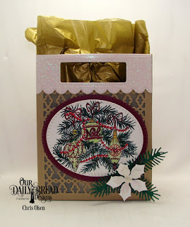 Our Daily Bread Designs, Card Caddy and Gift Bag die, Double Stitched Ovals, Gift Bag Handles and Toppers, Noel Ornament, Peaceful Poinsettia, Pine Branches, Oval Stitched Rows, designed by Chris Olsen