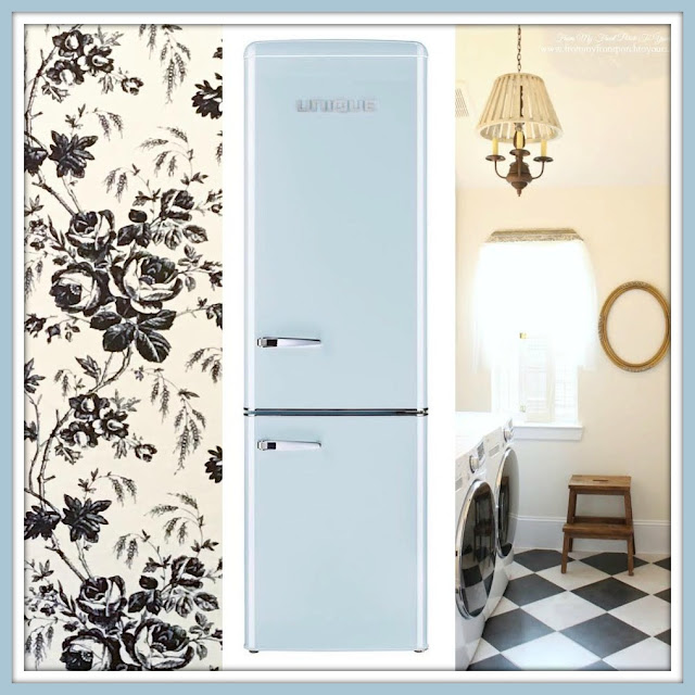 Laundry Room Makeover Farmhouse Cottage Style-Peel & Stick Wallpaper-Toile-Blue Retro Fridge-From My Front Porch To Yours