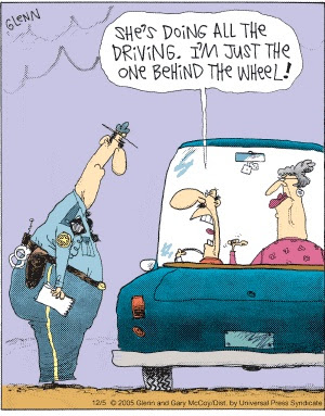 Back Seat Driver Wife Cartoon Funny Joke Pictures