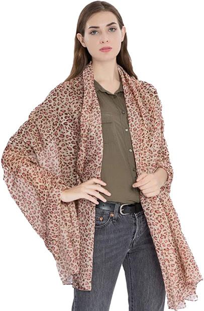 Chic Leopard Print Silky Chiffon Scarves