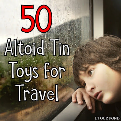 50+ Travel Toys in an Altoid Tin from In Our Pond  #miniatures #altoidtin #travel #airplane #roadtrip