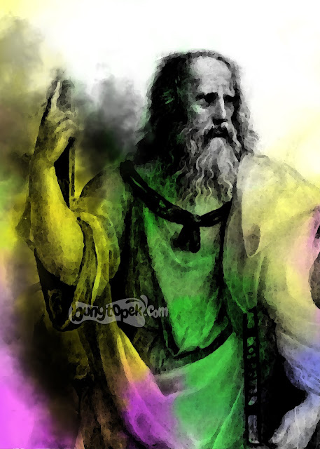Plato with colorful smoke effect