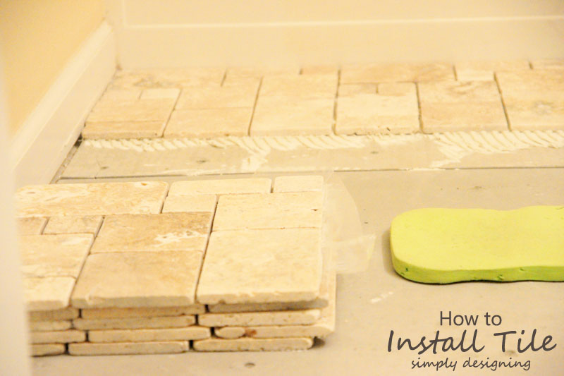 Random Pattern Travertine Tiles | a complete tutorial for how to demo, prep, install concrete backer board and install tile | #diy #bathroom #tile #thetileshop @thetileshop