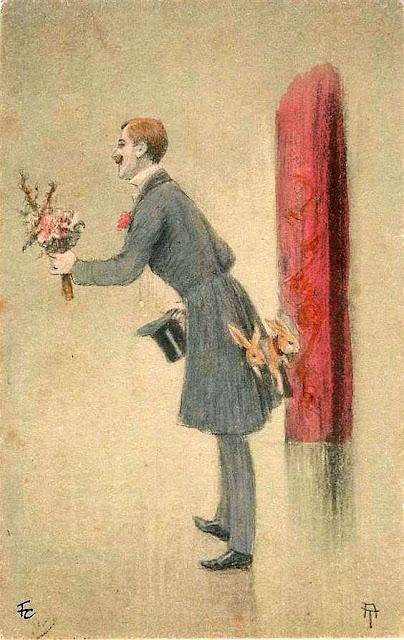 felicitare Paste vintage Romania Christos a inviat - barbat cu flori in mana