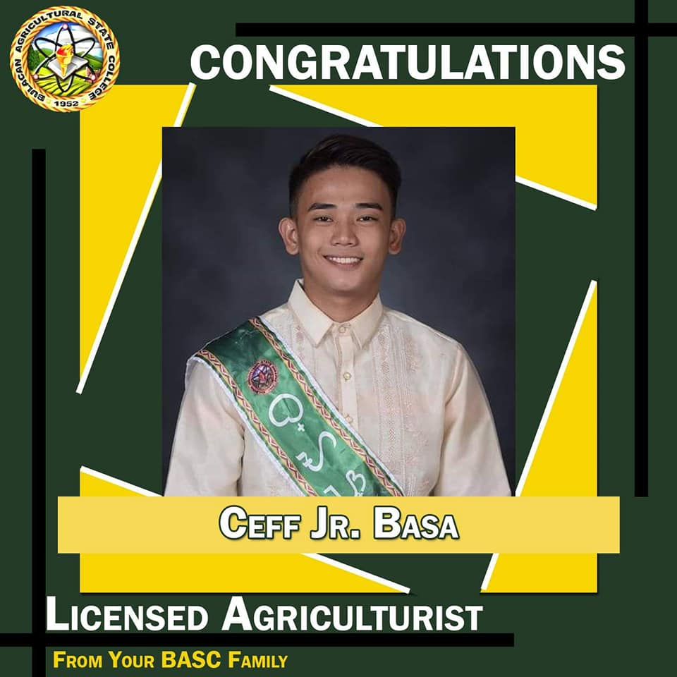 Ceff Basa Jr. magna cum laude, agriculture board exam passer