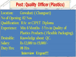 FMCG Company job in Assam For ITI Fitter,Quality Officer,Machine Operator,Accountant etc.