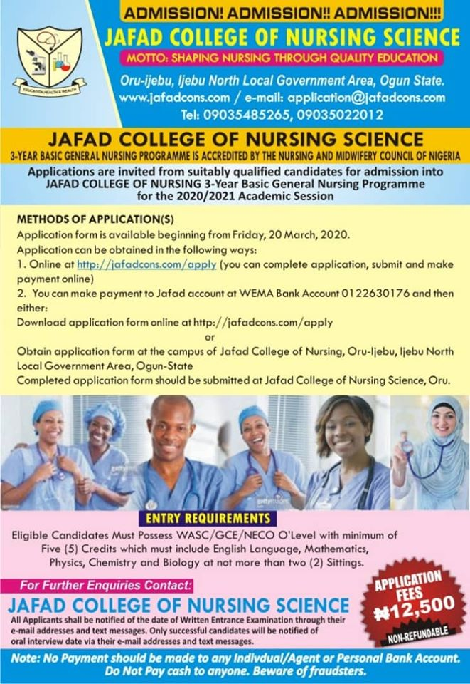 JAFAD College of Nursing Science Admission Form 2020/2021