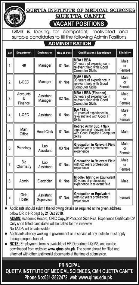 Quetta Institute of Medical Sciences Oct 2019