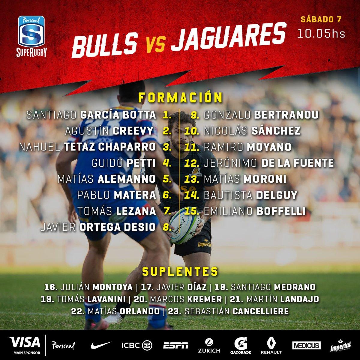 Formación de Jaguares para enfrentar a Bulls en Pretoria