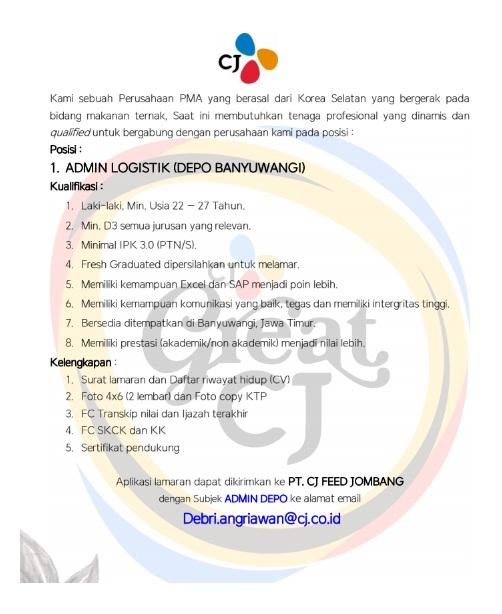 Lowongan Kerja PT CJ Feed Jombang Tingkat D3 Semua Jurusan Juni 2020