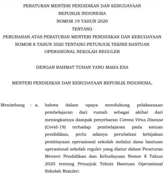 Download Permendikbud Nomor 19 Tahun 2020 Tentang Perubahan Juknis BOS Reguler