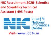 NIC Recruitment, Scientist, Scientific/Technical Assistant