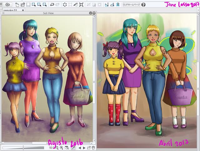 comparación de dibujo antes y después