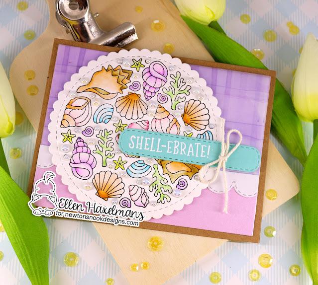 Seashell card by Ellen Haxelmans | Seashell Roundabout Stamp Set, Banner Trio Die Set and Circle Frames Die Set by Newton's Nook Designs #newtonsnook