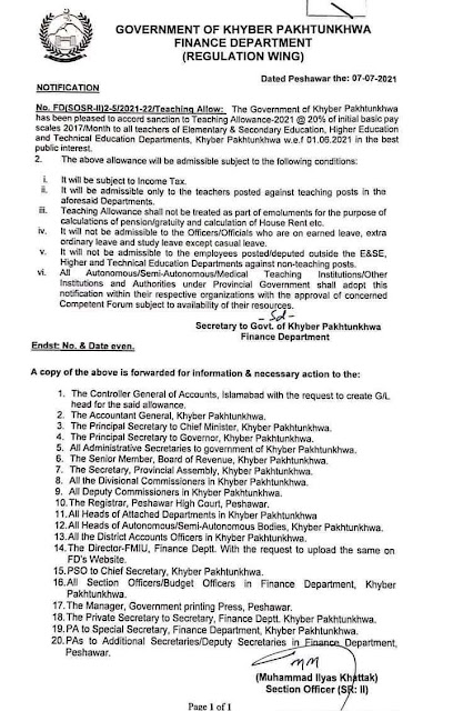 GRANT OF TEACHING ALLOWANCE TO THE TEACHERS BY KPK GOVERNMENT