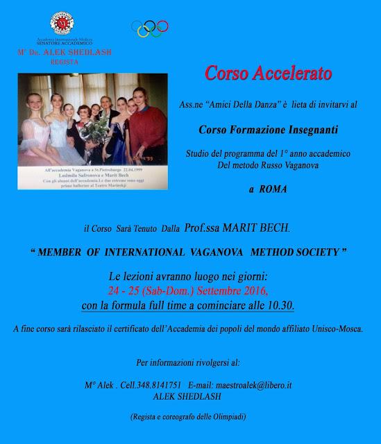Marit Bech, corso formazione insegnanti danza classica  Metodo Vaganova, 24-25 settembre 2016 a Roma