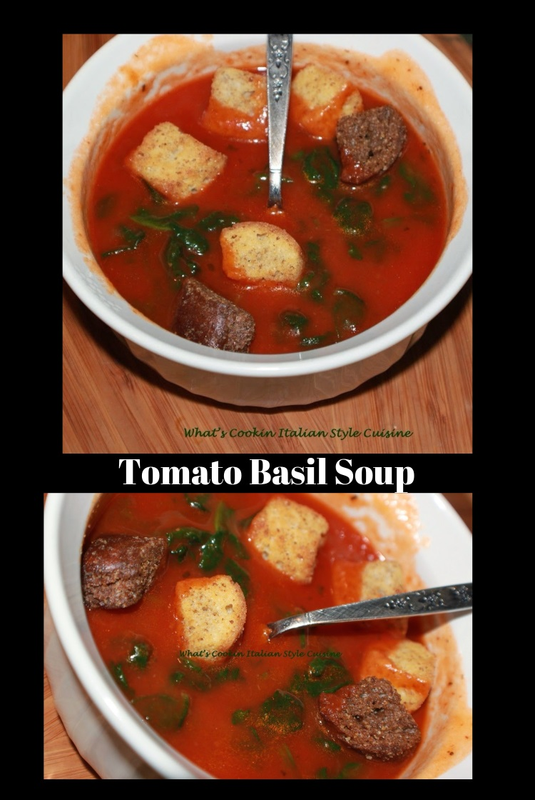 Tomato Basil Spinach Soup  is soup with spinach, tomatoes and croutons this is in a white bowl with added shredded cheeses in it