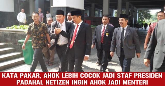 Netizen Ingin Ahok Jadi Menteri, Pengamat Ini Bilang Ahok Lebih Cocok Jadi Staf Presiden