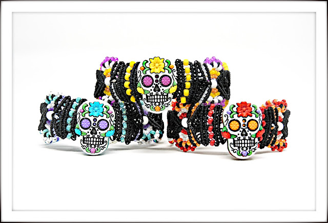 Day of the Dead Sugar Skull macrame bracelets by Sherri Stokey of Knot Just Macrame.