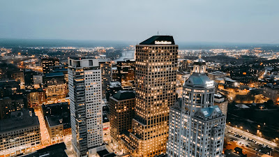 Skyscrapers, City, Aerial View, Buildings, Architecture