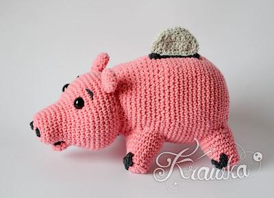 Krawka: Piggy bank vintage toy crochet pattern toy story inspired amigurumi pattern by Krawka
