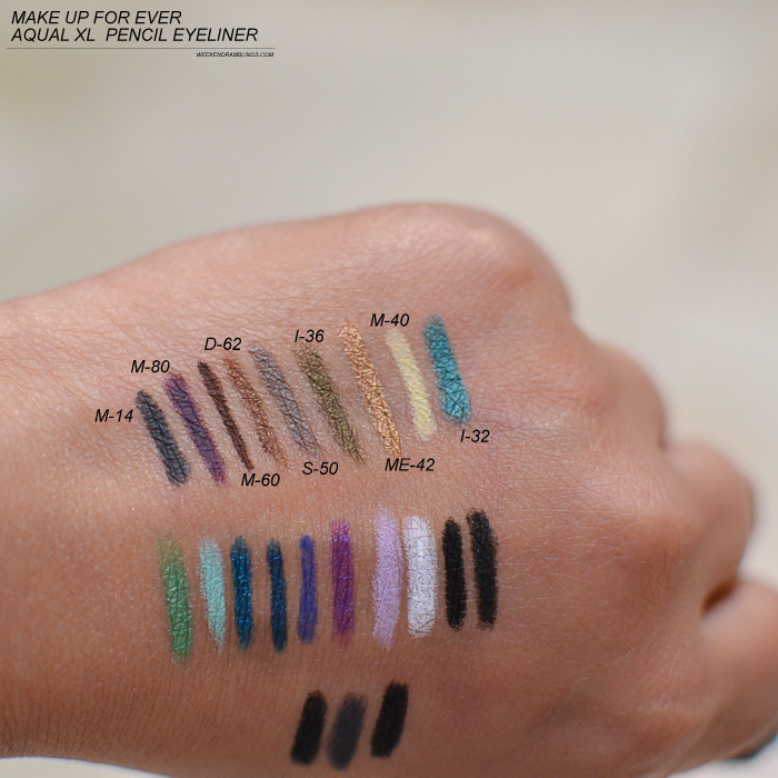 Makeupforever MUFE AquaXL Waterproof Eyeliner Pencils - Swatches - M14 M80 M60 D62 S50 I36 ME42 M40 I32