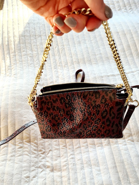 Hatton burgundy leopard leather cross body bag