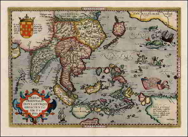 Peta Asia Timur Kuno - Indiae Orientalis Insularumque Adiacientium Typus Karya Abraham Ortelius 1579