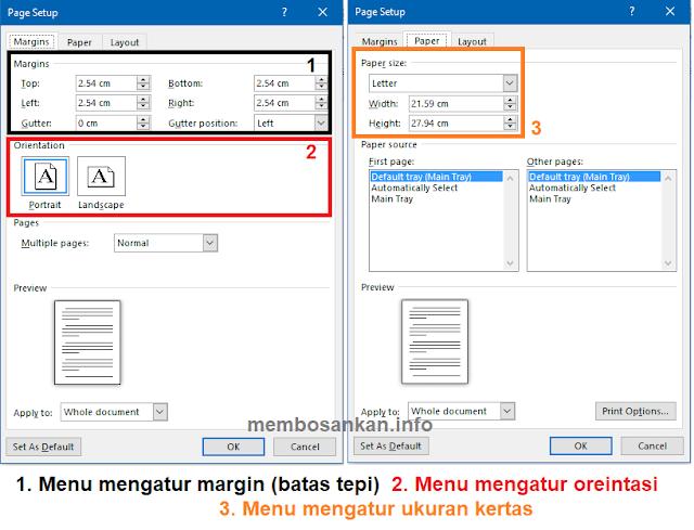 cara mengatur margin, orientasi dan ukuran kertas