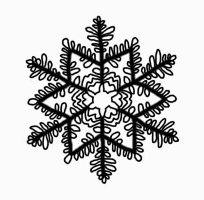 Illusztráció gyerekvershez, hófehér háttéren koromfekete hópehely minta egy téli, fagyos ablak külső üvegére kiülő jégvirág mintázatában.