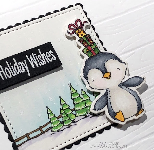 #cardbomb, #mariawillis, #cards, #craft, #create, #handmade, #cardmaking, #christmas, #penguin, #stamp, #copics, #copicmarkers, #art, #color, #ink, #paper, #simonsaysstamps,