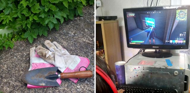 Gardening gloves and a trowel and my youngest playing Fortnite on her PC