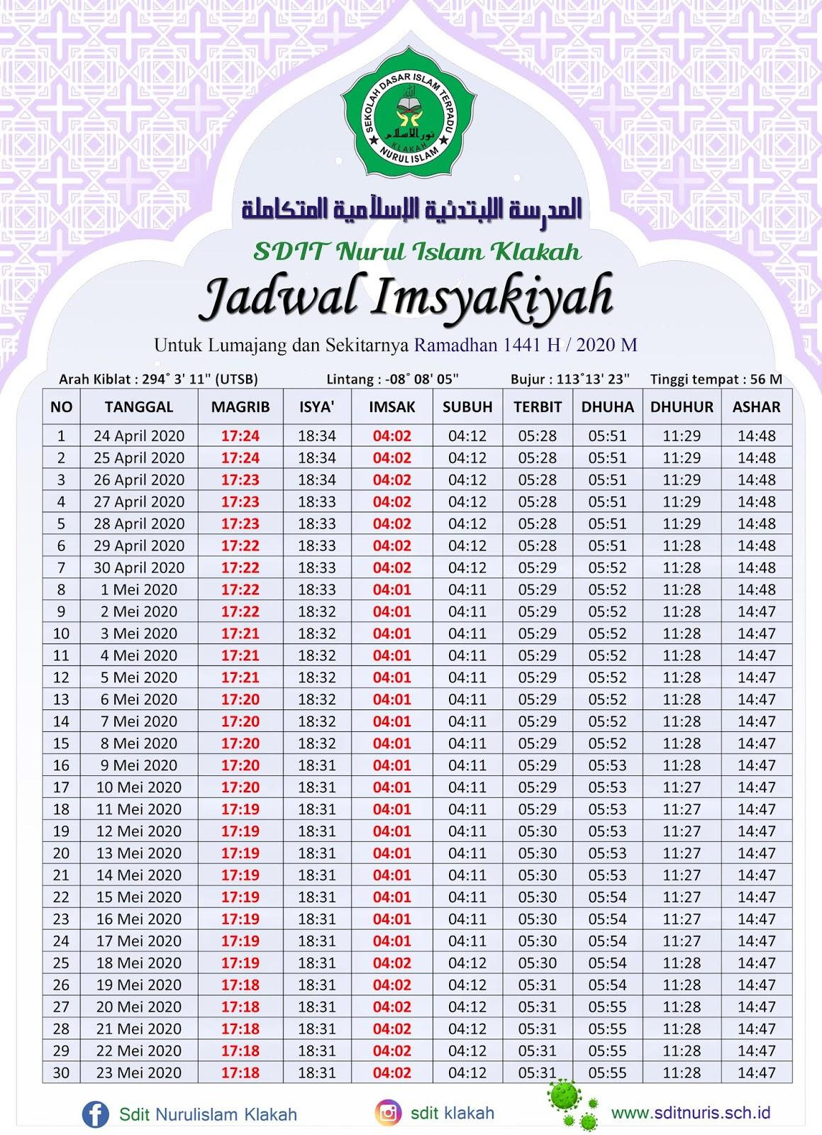 Jadwal Imsyakiyah Ramadhan 1441 H - 2020 M - SDIT NURUL ...