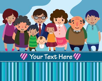 vector familia con abuelos, padres e hijos